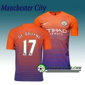 Maillot de Manchester City FC DE BRUYNE 17 Third 2016 2017 Orange/Pourpre Ventes Privées
