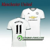 Maillot de Manchester United FC MARTIAL 11 Third 2016 2017 Blanc Bonnes Affaires