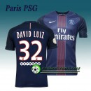 Maillot de Paris PSG DAVID LUIZ 32 Domicile 2016 2017 Bleu Site Officiel France