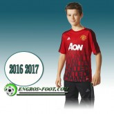 Maillot de Training Manchester United Rouge PRE-MATCH 2016 2017 Magasin Paris