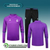 Nouvelle Survetement Foot Real Madrid Collar Pourpre + Pantalon Noir 2016 2017 Ensemble
