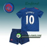 Promotions Ensemble Maillot Foot Manchester United Enfant ROONEY 10 Exterieur 2016 2017 Blanc