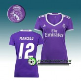 Promotions Maillot de Foot FC Real Madrid Femme MARCELO 12 Exterieur 2016 2017 Pourpre
