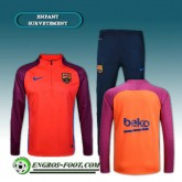 Rabais Survetement Foot FC Barcelone Enfant Pourpre/Orange 2016 2017