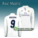 Solde Maillot Real Madrid Manche Longue BENZEMA 9 Domicile 2016 2017 Blanc