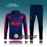 Survetement Foot Manchester United Bleu&Rouge Côté 2015 2016 Boutique Paris