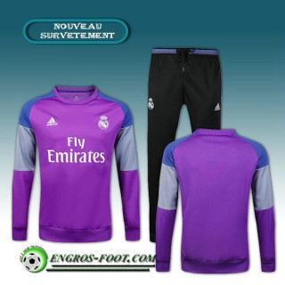 Survetement Foot Real Madrid Pourpre + Pantalon Noir 2016 2017 Ensemble Vendre