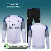 Vente Survetement Foot Real Madrid Blanc + Pantalon Noir 2016 2017 Ensemble