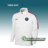 Veste Foot Paris PSG Blanc/Rouge 2016 2017 Ventes Privées