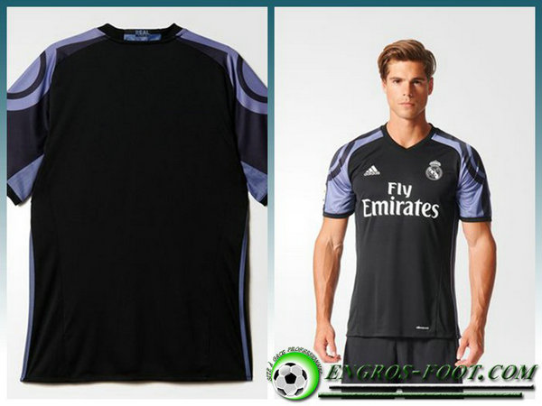 maillot foot real madrid KROOS 8 Third Homme Noir Manche Courte 2016 2017