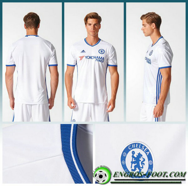 maillot foot chelsea Third Homme Blanc Manche Courte 2016 2017